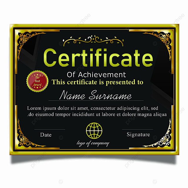 Elegant Marriage Certificate Template Golden Edition: Elegant Horizontal Certificate Template Psd With Gold