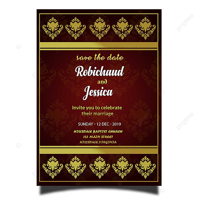 Elegant Royal Wedding Invitation Card Template Psd With Gold