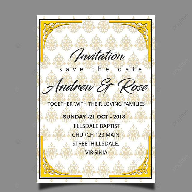 Elegant Wedding Invitation Card Template With Gold Pattern