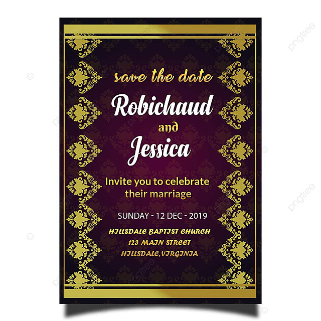 Gold Border Wedding Invitation Card Template Psd With Luxury