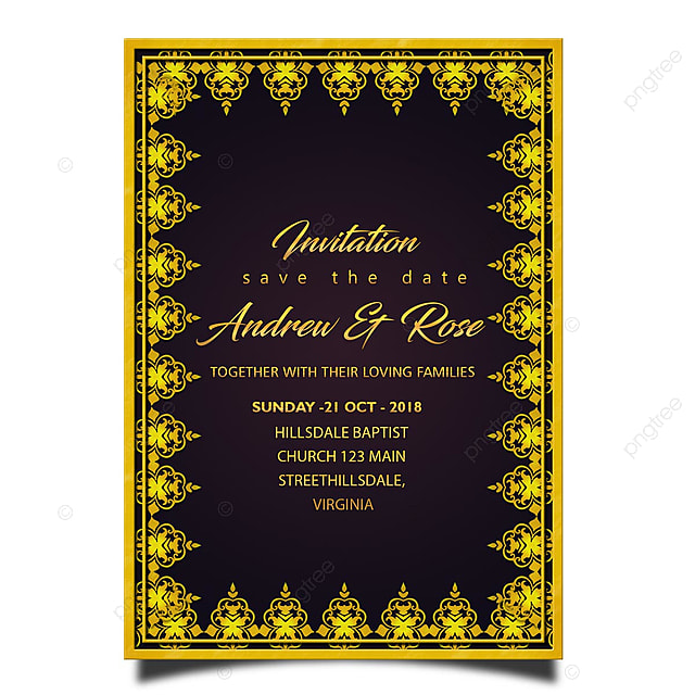 Gold Border Wedding Invitation Card Template With Font Typography