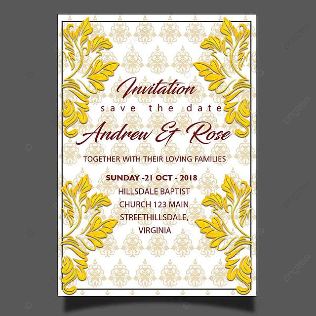 Plantilla De Tarjeta De Invitacion De Boda Oro Floral Patrón