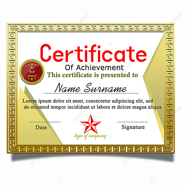 Gold Horizontal Certificate Of Achievement With Gold