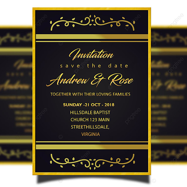 Gold Wedding Invitation Card Template Psd With Frame