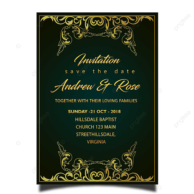 royal wedding invitation card template psd with gold frame