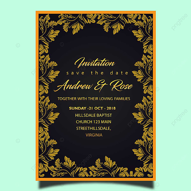 Vector Flower Gold Wedding Invitation Card Template Psd With