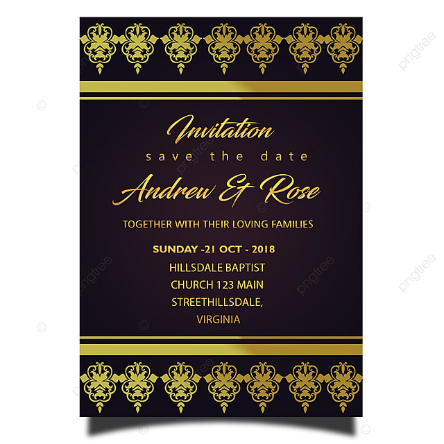 Wedding Invitation Card Template Gold Borders And Gold
