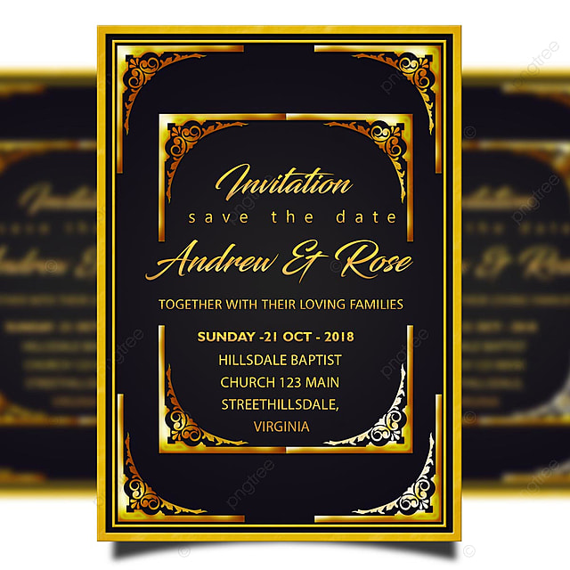 wedding invitation card template psd with golden border and gold corner template for free