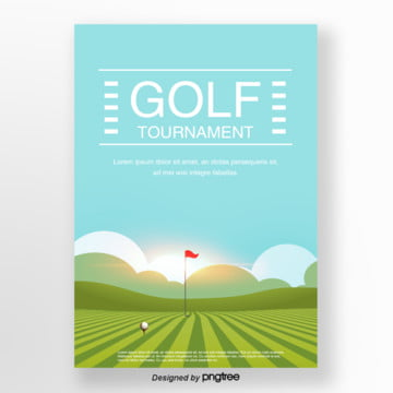 Blue Lawn Course Background Golf Poster Template