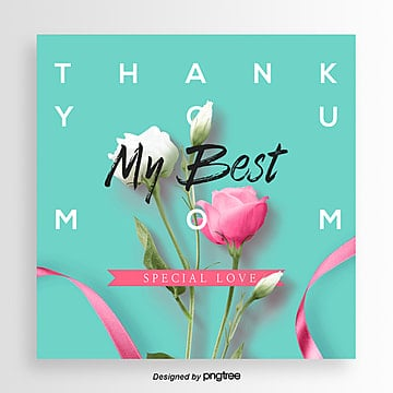 Flowers Simple Romantic Mothers Day Happy Festival Card Template