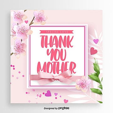 Fresh Fashion Thanksgiving Mothers Day Promotional Card, Ribbon, Card, Aestheticism PNG and PSD