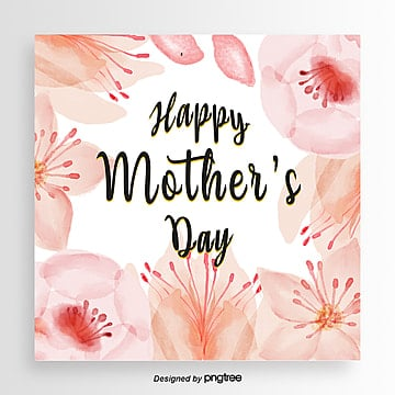 Hand-painted watercolor flower pattern Mothers Day card, Card, Hand Painted, Mother PNG and PSD