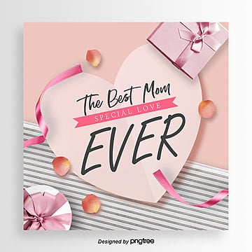 romantic and aesthetic simple mothers day card Template