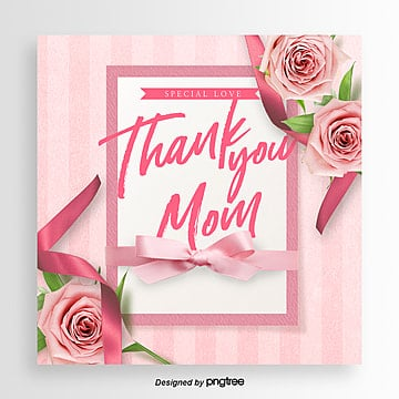 Romantic and Beautiful Flowers Thanksgiving Mothers Day Festival Card, Ribbon, Card, Propaganda PNG and PSD