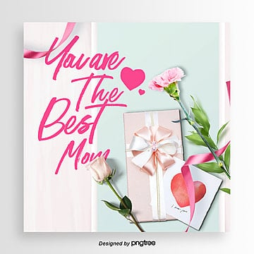 romantic fashion simple mothers day happy festival card Template