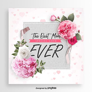 Romantic Flowers Fashion Simple Mothers Day Card Design, Ribbon, Card, Aestheticism PNG and PSD