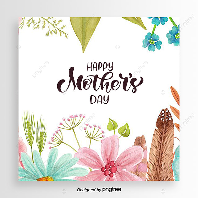 Pink Mothers Day Flyer Template For Free Download On Pngtree: Simple And Colorful Hand-painted Flower Mothers Day Card