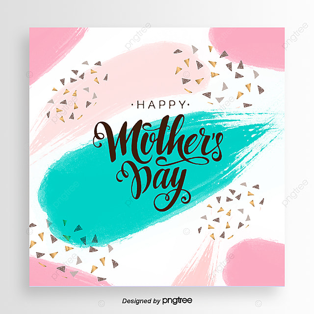 Pink Mothers Day Flyer Template For Free Download On Pngtree: White Hand-painted Style Block Gold Sequins Delicate
