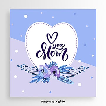 Purple Hand painted Style Two color Wavepoint Mothers Day Card Template