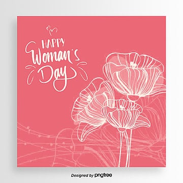 red line pattern flower mothers day card Template