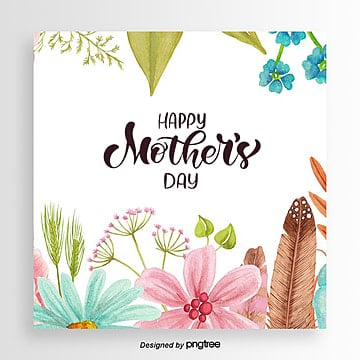 Simple colorful floral mothers day card Template