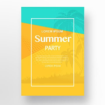 Yellow Blue Realistic Style Summer Party Poster with Coconut Tree Ground Palm Lemon Watermelon Ice Cream, Ice Cream, Silhouette, Summer PNG and PSD