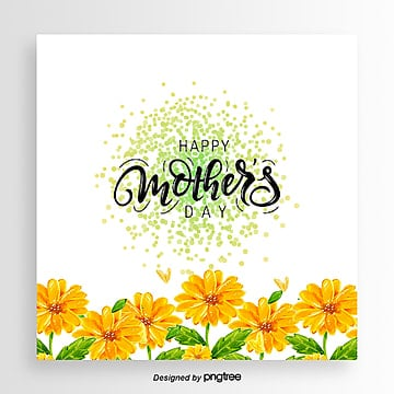 Yellow Hand-painted Daisy Love Mothers Day Card, Card, Little Daisy, Hand Painted PNG and PSD
