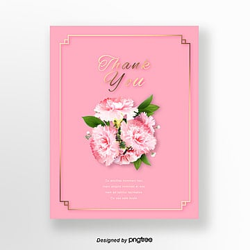 Simple pink bouquet warm teachers Day Thanksgiving card Template