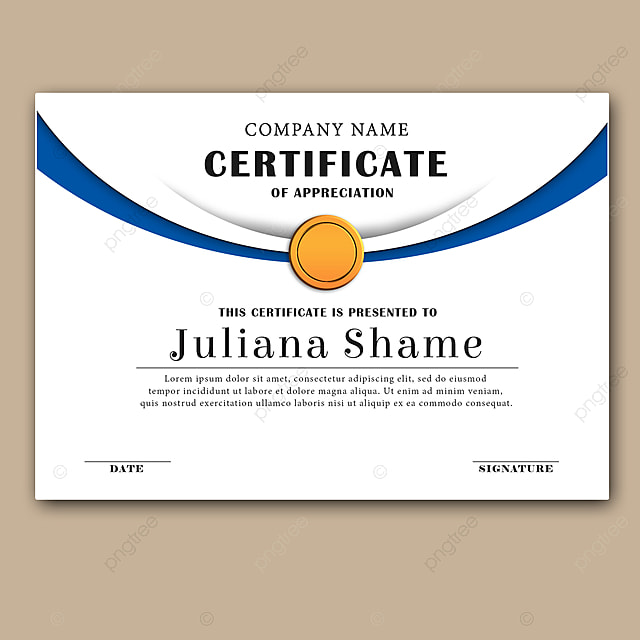 Certificate Template In Elegant Black And Blue Colors With