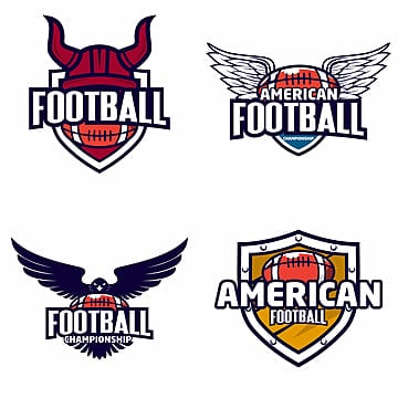set of colorful american football tournament challenge logo labels on shield  vector isolated sport logo design illustration   vector   vector Template