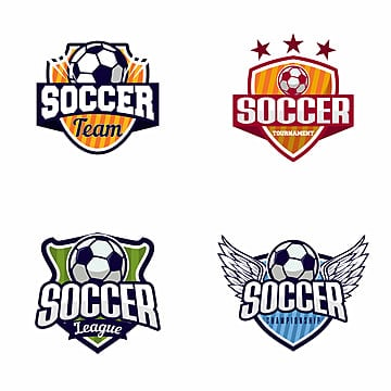 set of soccer football badge logo design templates sport team identity vector illustrations isolated on white background collection of soccer themed t shirt graphics   vector   vector Template