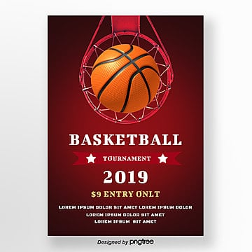 Simple posters for red creative basketball games Template