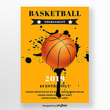 Yellow Creative Basketball Sports Match Poster Template