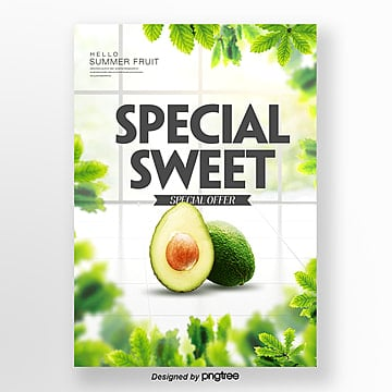 avocado summer fresh fruit theme poster Template