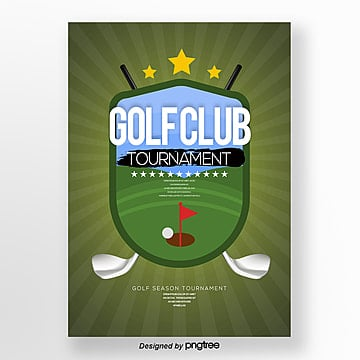Cartoon Fashion Simple Golf Sports Poster Template