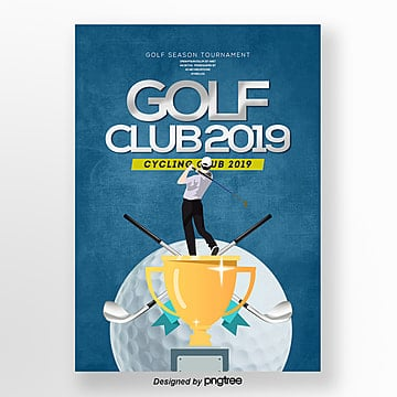 Cartoon Fashion Simple Golf Sports Publicity Poster Template