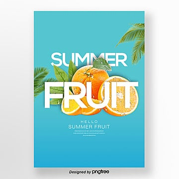 fashion fresh simple orange fruit theme poster Template