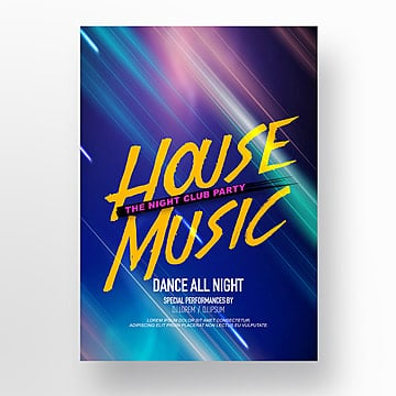 Fashionable Brilliant Color Line Music Party Poster, Theme, Club, Luminescence PNG and PSD