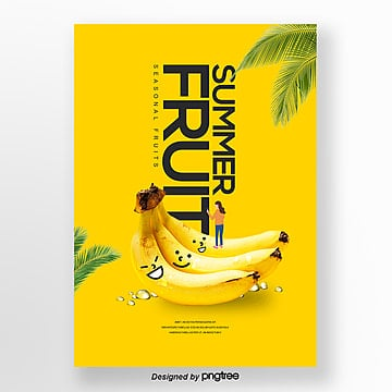 fresh natural fresh banana fruit theme poster Template