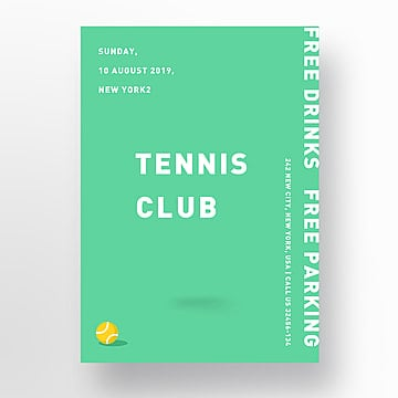 Green Creative Tennis Match Poster Template