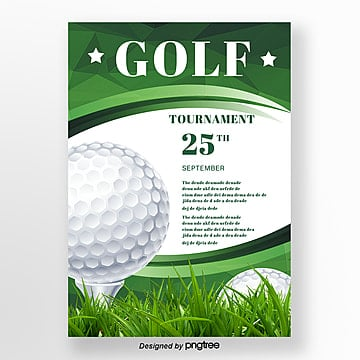 Green Polygon Gradual Style Golf Poster Template