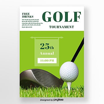Green Simple Style Golf Poster Template