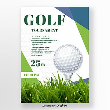 Green stitching style Golf posters Template