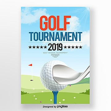 Modern Fashion Cartoon Golf Poster Template