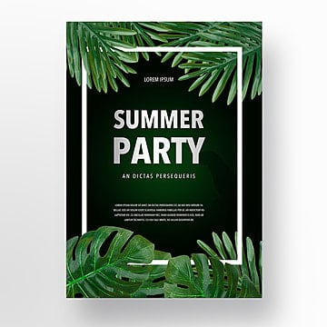 Green Realistic Parrot Palm Leaf Summer Party Poster, Realism, Summertime, Magnificent PNG and PSD
