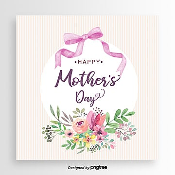 Pink flowers ribbon bow mothers day card Template