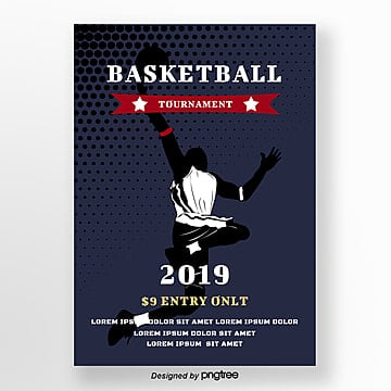 Blue Sports Basketball Poster Template