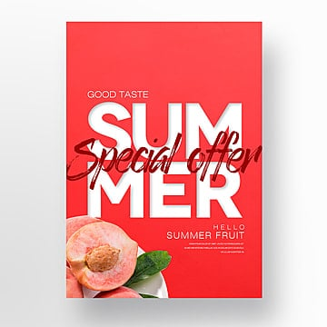 Fashionable Simple Pomegranate Fruit Summer Fresh Theme Poster Template