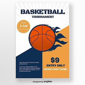 Flame Orange Blue Basketball Match Poster Template