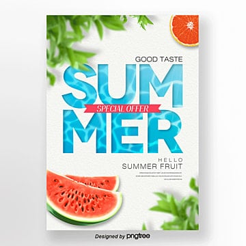 fresh fashion simple summer  theme poster Template
